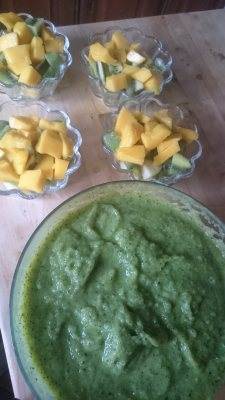 Plumetis de purée de courgettes, salade de fruits dynamique